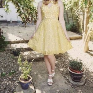 River Island Yellow Embroidered Cut Out Dress